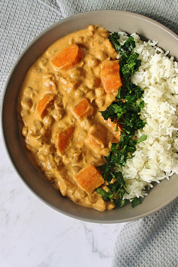 Roasted Sweet Potato Chickpea Curry