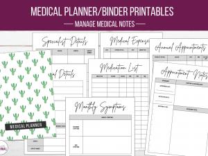 LM Medical Planner Binder Printables Watercolor Cactus