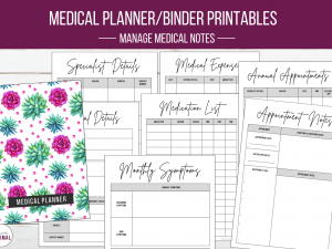 Pink & Green Cactus Medical Planner