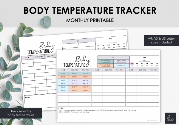 LiveMinimalPlanners Body Temperature Tracker-1