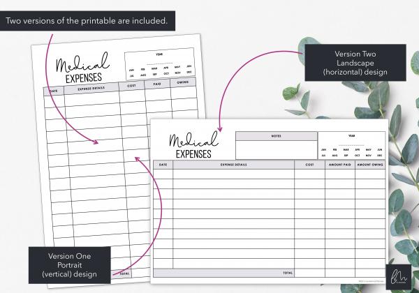 LiveMinimalPlanners Medical Expense Tracker