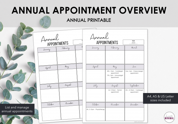 LiveMinimalPlanners Appointment Schedule Overview