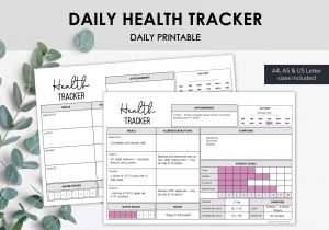 LiveMinimalPlanners Daily Health Tracker