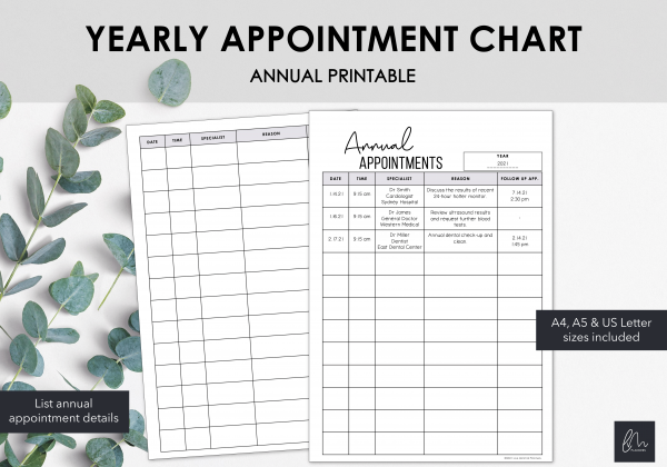 LiveMinimalPlanners Annual Appointment Chart
