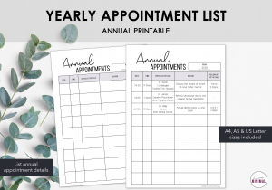 LiveMinimalPlanners Annual Appointments