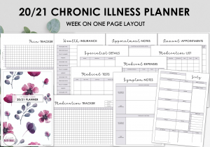 LiveMinimalPlanners Chronic Illness Planner WATERCOLORFLORAL