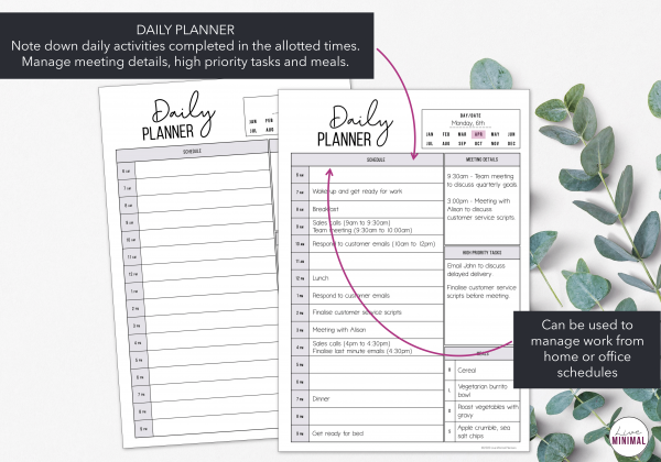 LiveMinimalPlanners Daily Work From Home Planner