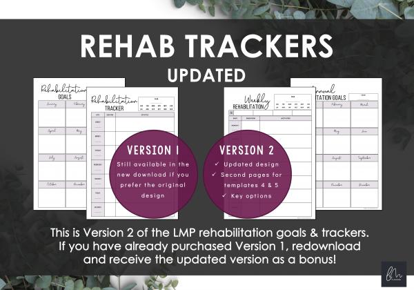 LiveMinimalPlanners Rehabilitation Goals and Trackers