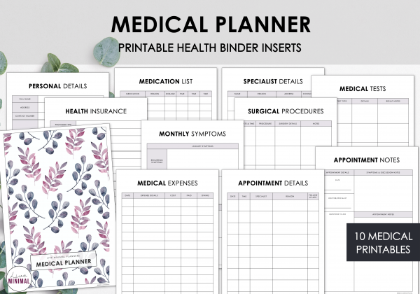 LiveMinimalPlanners Medical Planner MINIMALISTPLANTS
