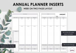 LiveMinimalPlanners 2021 Weekly Binder Inserts