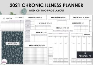 LiveMinimalPlanners Chronic Illness Planner CharcoalLeaves