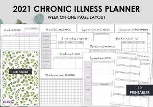 LiveMinimalPlanners Chronic Illness Planner GREENLEAVES