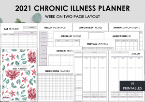 LiveMinimalPlanners Chronic Illness Planner WO2P REDFLORAL