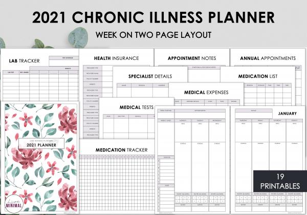 LiveMinimalPlanners Chronic Illness Planner WO2P REDFLORAL