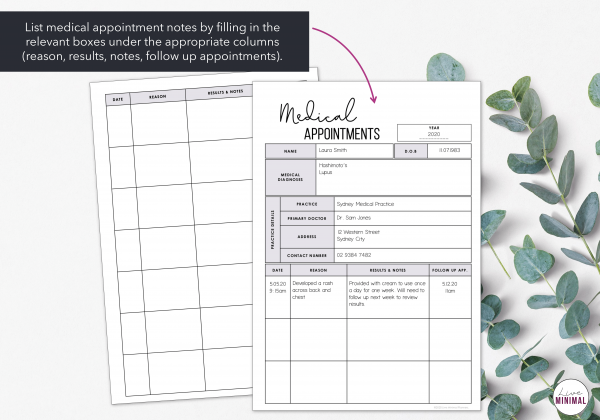 LiveMinimalPlanners Medical Appointment Chart