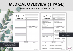 LiveMinimalPlanners Medical Overview 1 Page