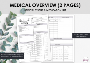 LiveMinimalPlanners Medical Overview 2 Pages