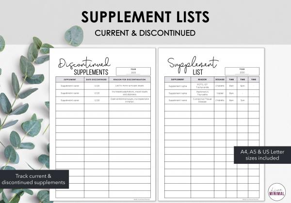 LiveMinimalPlanners Supplement List