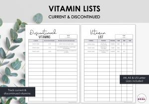 LiveMinimalPlanners Vitamin List
