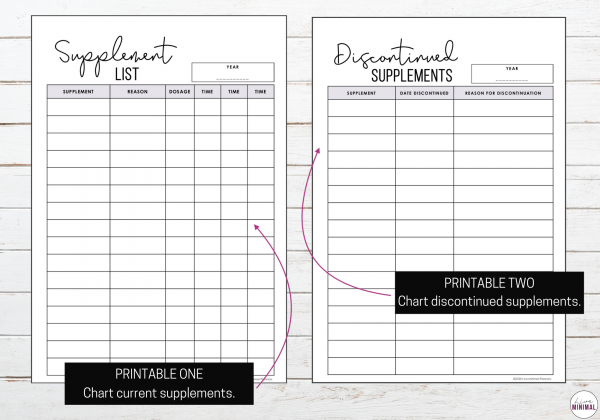 Printable Supplement Lists