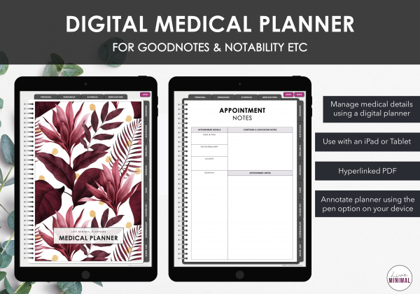 LiveMinimalPlanners Digital Medical Planner MINIMALISTCRIMSONTROPICAL Listing Photos 1