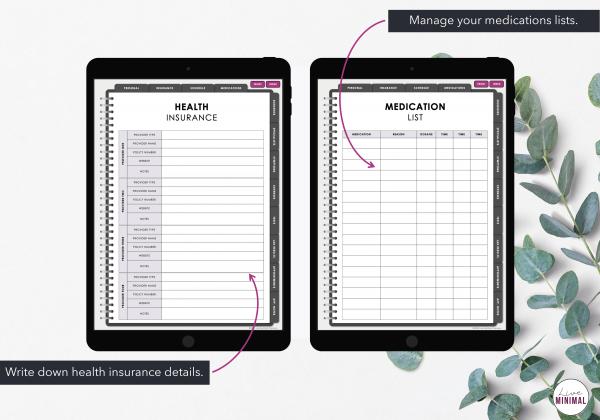 LiveMinimalPlanners Digital Medical Planner MINIMALISTFLORAL Listing Photos