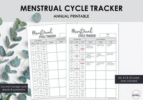LiveMinimalPlanners Menstrual Cycle Listing Photo