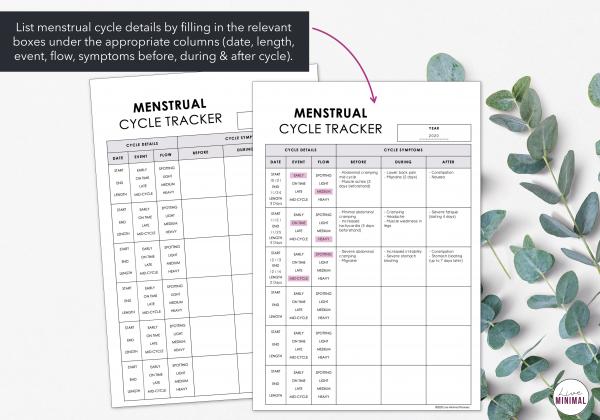 LiveMinimalPlanners Minimalist Menstrual Cycle Listing Photo