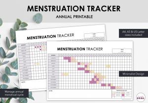 LiveMinimalPlanners Minimalist Menstruation Tracker Listing Photo