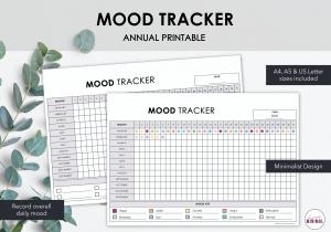 LiveMinimalPlanners Minimalist Mood Tracker Listing Photo