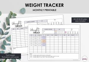 LiveMinimalPlanners Weight Tracker