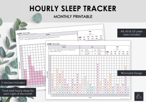 LiveMinimalPlanners Hourly Sleep Tracker