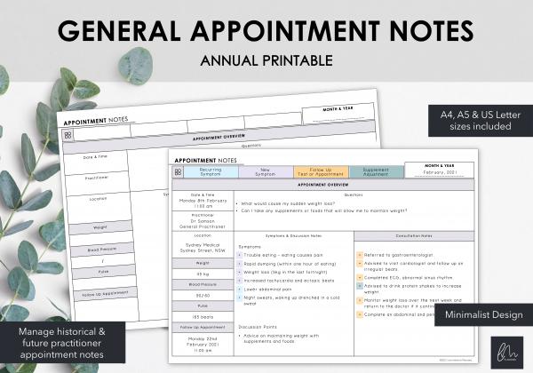 LiveMinimalPlanners Minimalist Appointment Notes
