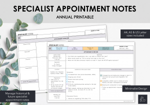 LiveMinimalPlanners Minimalist Specialist Appointment Notes