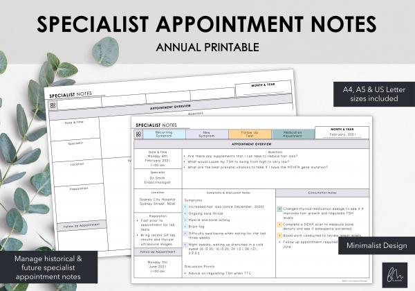 LiveMinimalPlanners Minimalist Specialist Appointment Notes