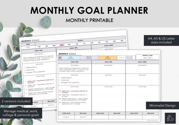 LiveMinimalPlanners Monthly Goals