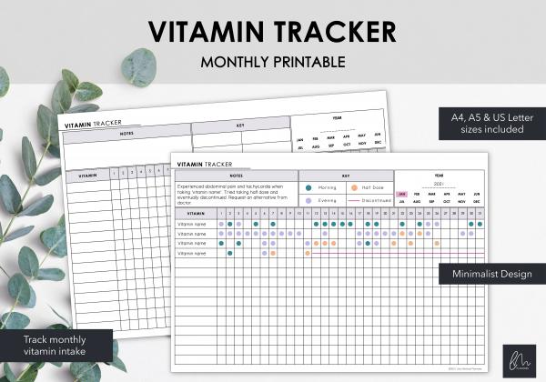 LiveMinimalPlanners Vitamin Tracker