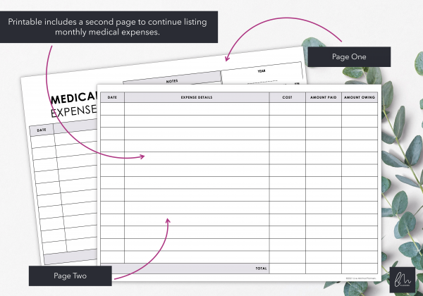 LiveMinimalPlanners Medical Expense Tracker