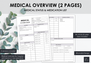 LiveMinimalPlanners Medical Overview 2 Pages Minimalist