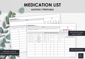 LiveMinimalPlanners Medication List