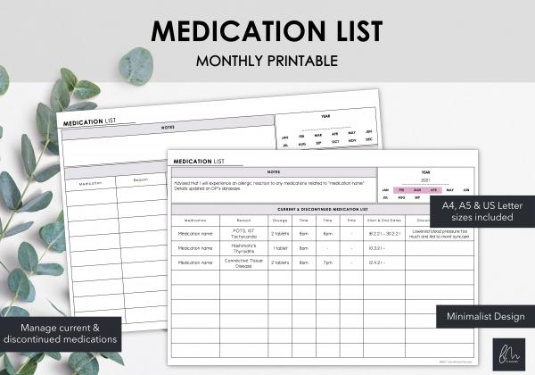 LiveMinimalPlanners Medication List
