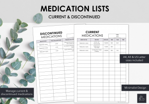 LiveMinimalPlanners Medication List Minimalist Design