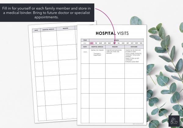 LiveMinimalPlanners Minimalist Hospital Visit Chart