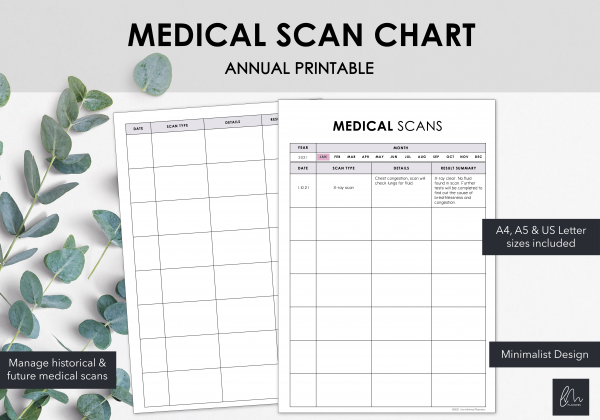 LiveMinimalPlanners Minimalist Medical Scan Chart