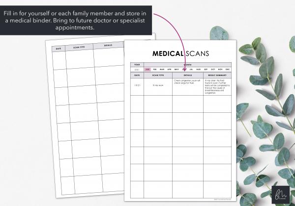 LiveMinimalPlanners Minimalist Medical Scan Chart