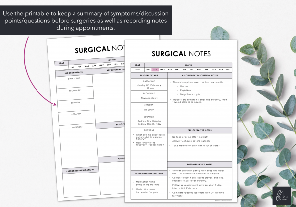 LiveMinimalPlanners Surgical Notes Minimalist