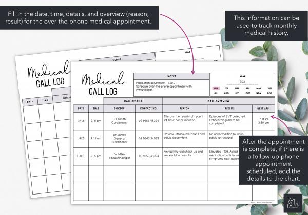 LiveMinimalPlanners Medical Call Chart
