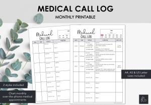 LiveMinimalPlanners Medical Call Log